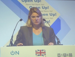 Justine Greening MP speaking at the Open Up! conference
